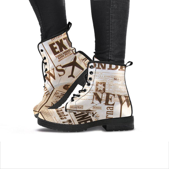 Handcrafted Newspaper Print Boots.