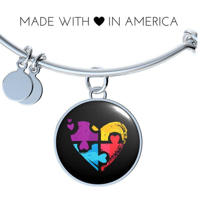 Autism Awareness Heart Puzzle Luxury Bangle