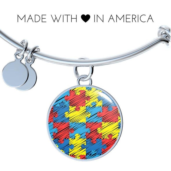 Autism Awareness Colorful Puzzle Luxury Bangle
