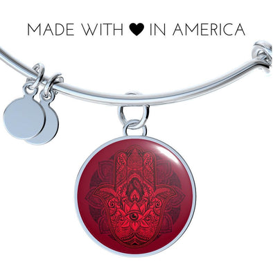 Hands of Hamsa Red Eye Luxury Bangle