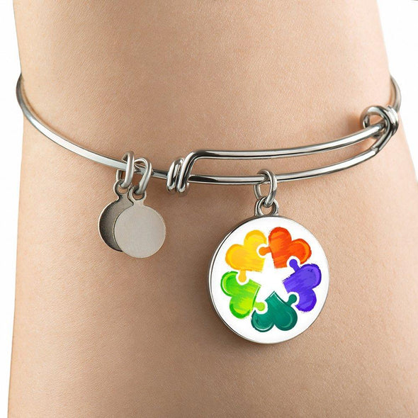 Autism Awareness Colorful Hearts Luxury Bangle