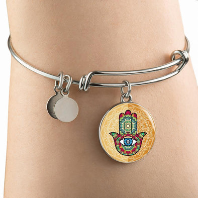 Hands of Hamsa Multi-Colored Religious Luxury Bangle