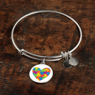 Autism Awareness Heart Luxury Bangle