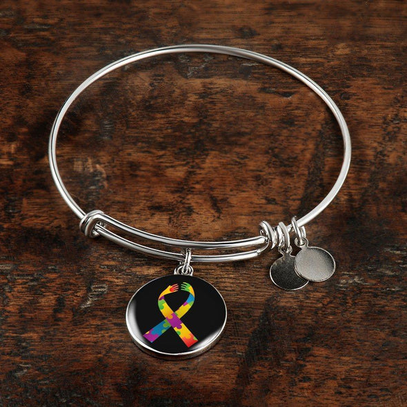 Autism Awareness Colorful Ribbon Luxury Bangle