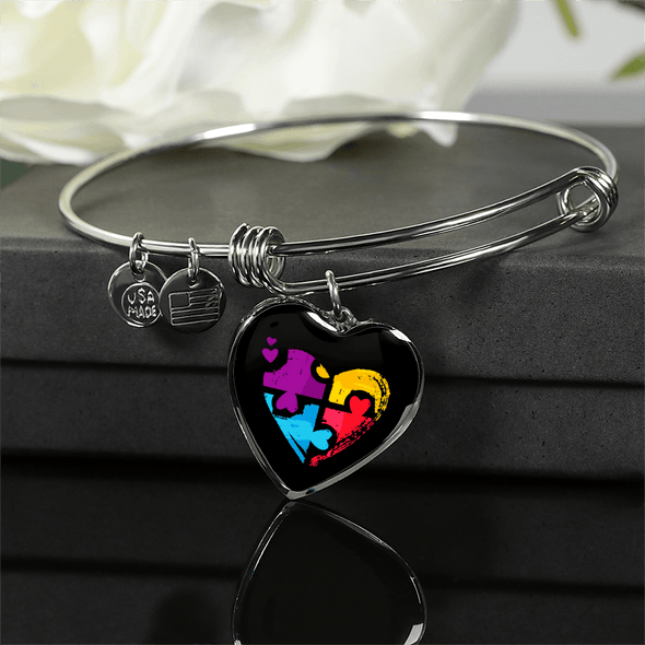 Autism Awareness Black Colorful Heart Luxury Bangle