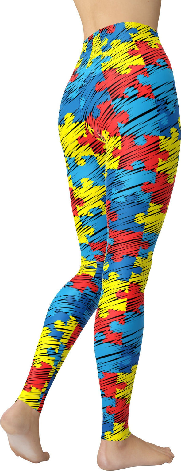 HandCrafted Autism Awareness Puzzle Leggings