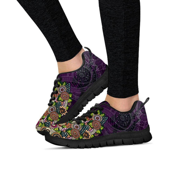 Clearance Purple Fractal Mandala Sneakers