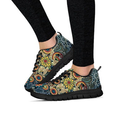 Clearance Yellow Flower Fractal Mandala Sneakers