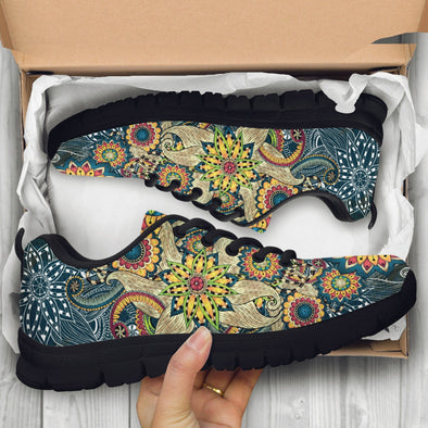 Yellow Flower Fractal Mandala Sneakers.