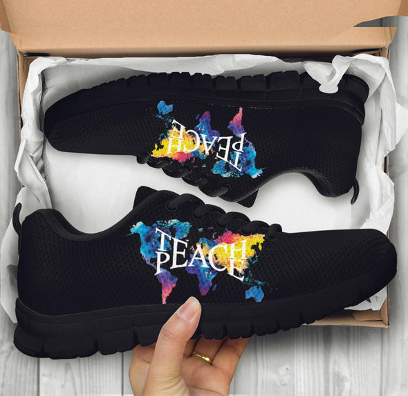 Blue Yellow Teach Peace Sneakers