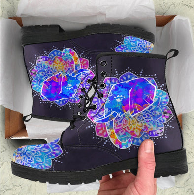 HandCrafted Watercolor Elephant Mandala Boots