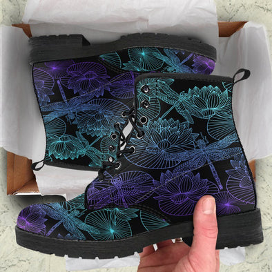 HandCrafted Fractal Lotus Dragonfly Boots