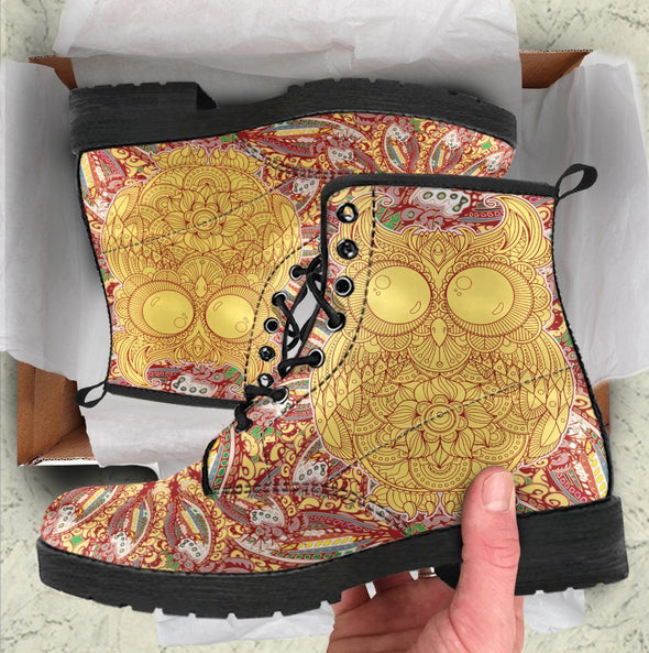 HandCrafted Owl Mandala Boots