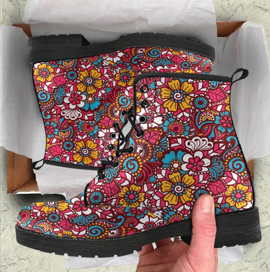 HandCrafted Colorful Hippie Flowers Boots