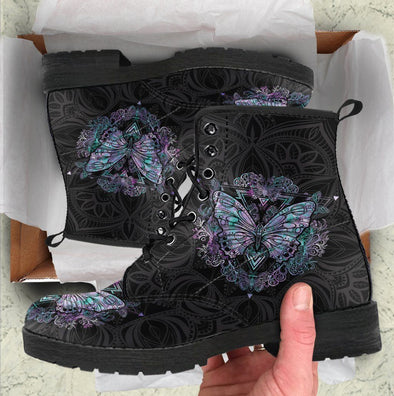 HandCrafted Dark Butterfly Boots