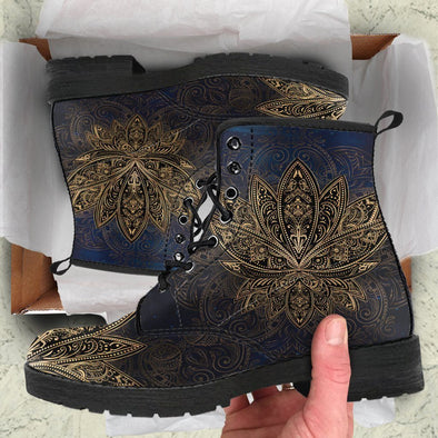 HandCrafted Gold Lotus Mandala Boots.