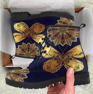 HandCrafted Glowing Butterfly Mandala Boots