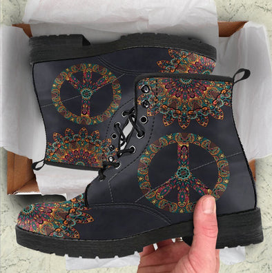 HandCrafted Colorful Peace and Mandala Boots