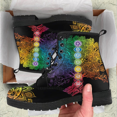 Handcrafted Tree of Life Chakra Mandala Boots