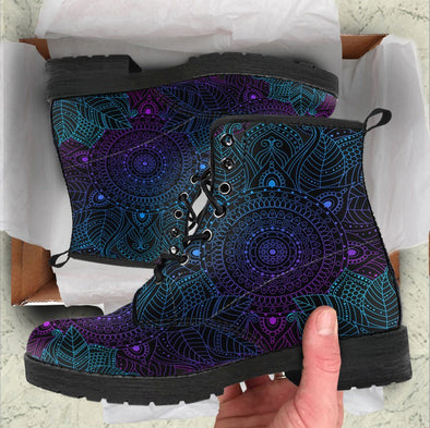 Handcrafted Purple Mandala Boots .