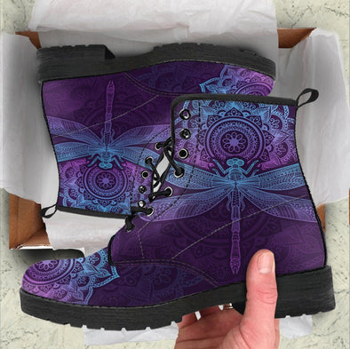 HandCrafted Purple Mandala Dragonfly Boots