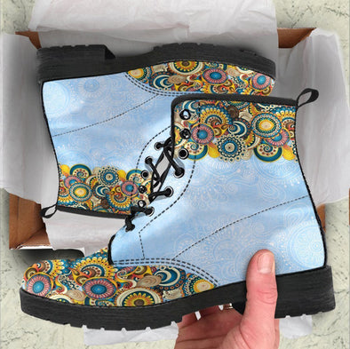 Handcrafted Sky Blue Mandala Boots