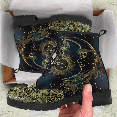 HandCrafted Gold Sun and Moon Boots