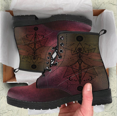 Handcrafted Red Gradient Dragonfly Boots
