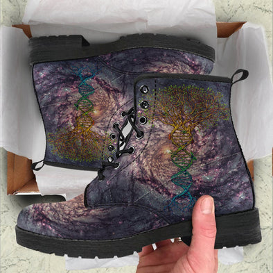 Handcrafted Nebula Tree of Life DNA Boots