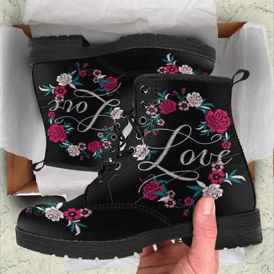 Handcrafted Love Flower Design Boots