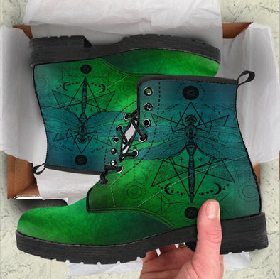 Handcrafted Green Gradient Dragonfly Boots