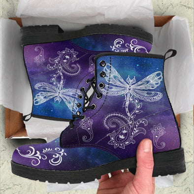 Handcrafted Galaxy Dragonfly Boots
