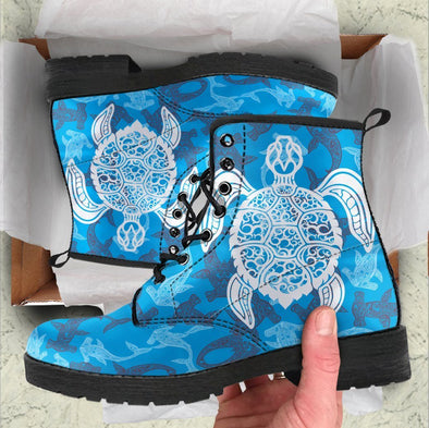 Blue Water Turtle and Shark Boots