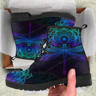 Handcrafted Mandala Dragonfly Boots .