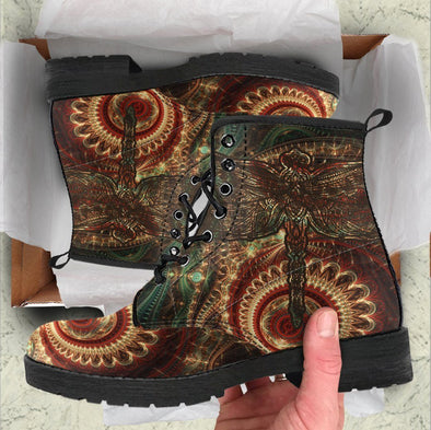 HandCrafted Mystical Dragonfly Mandala Boots