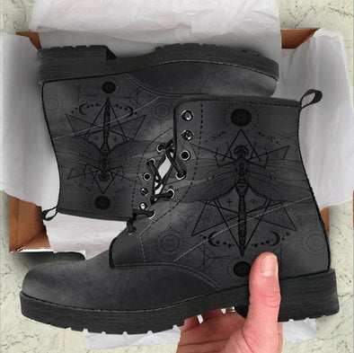 Handcrafted Black Dragonfly Bohemian Boots
