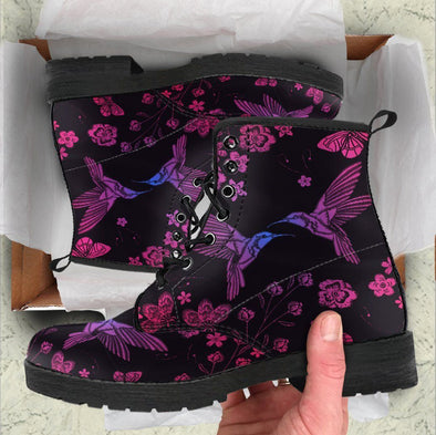 HandCrafted Blue Purple HummingBird Boots
