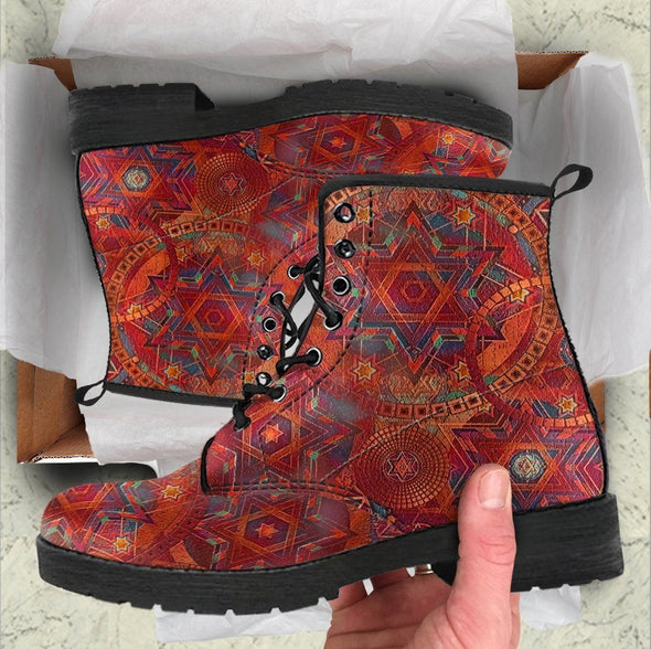 Handcrafted Red Oriental Mandala Boots