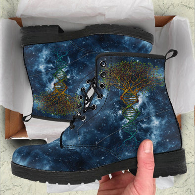 Handcrafted Blue Galaxy Tree of Life DNA Boots