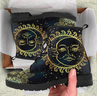 Handcrafted Gold Sun and Moon 4 Boots
