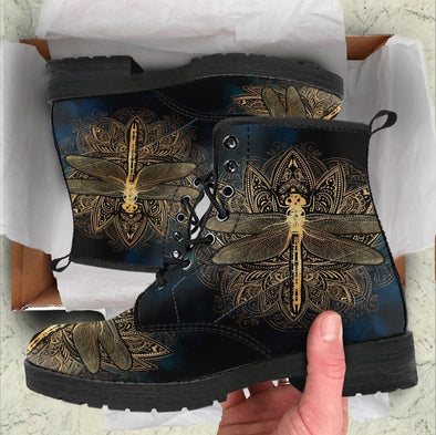 Handcrafted Gold Dragonfly Boots .