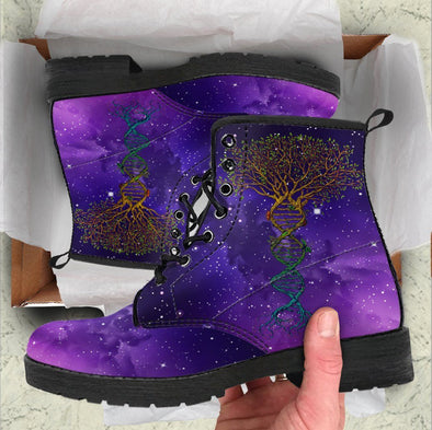 Handcrafted Purple Galaxy Tree of Life DNA Boots