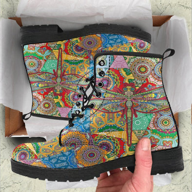 HandCrafted Colorful Dragonfly Mandala Boots
