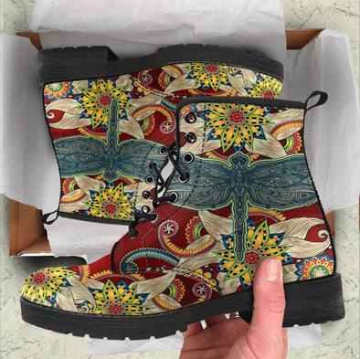HandCrafted Dragonfly Fractal Mandala Red Boots