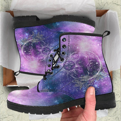 Handcrafted Galaxy Sun and Moon Boots