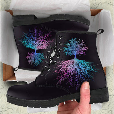 HandCrafted Minimilist Blue Purple Tree of Life Boots