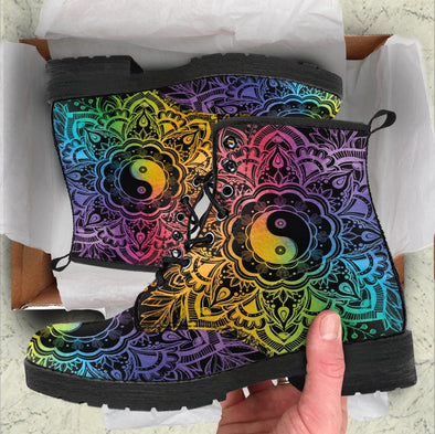 HandCrafted Rainbow Lotus YinYang Boots