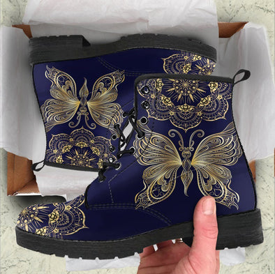 HandCrafted Gold Butterfly Mandala Boots