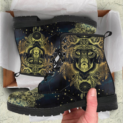 Handcrafted Golden Wolf Boots
