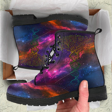 Handcrafted Galaxy Tree of Life DNA Boots
